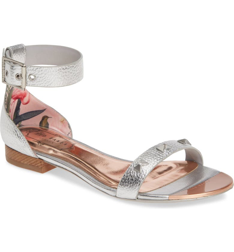 TED BAKER LONDON Ovey Sandal, Main, color, SILVER LEATHER