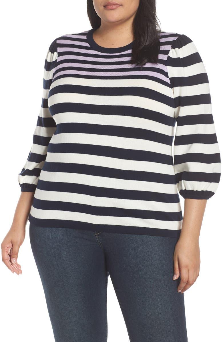 CECE Stripe Blouson Sleeve Sweater, Main, color, CAVIAR