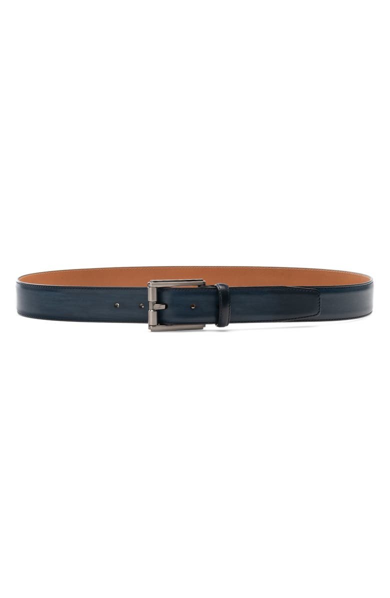 MAGNANNI Dali Leather Belt, Main, color, NAVY