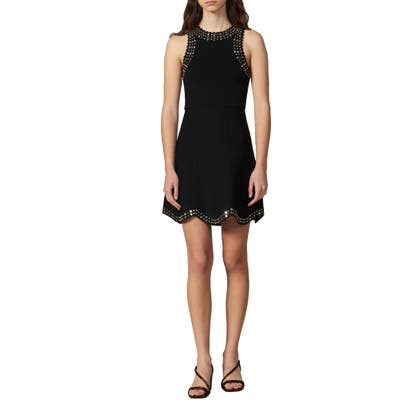 Sandro Jenn Stud Detail Fit & Flare Dress, 8 FR - Black