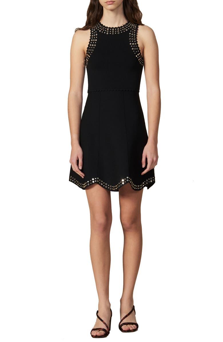 SANDRO Jenn Stud Detail Fit & Flare Dress, Main, color, BLACK