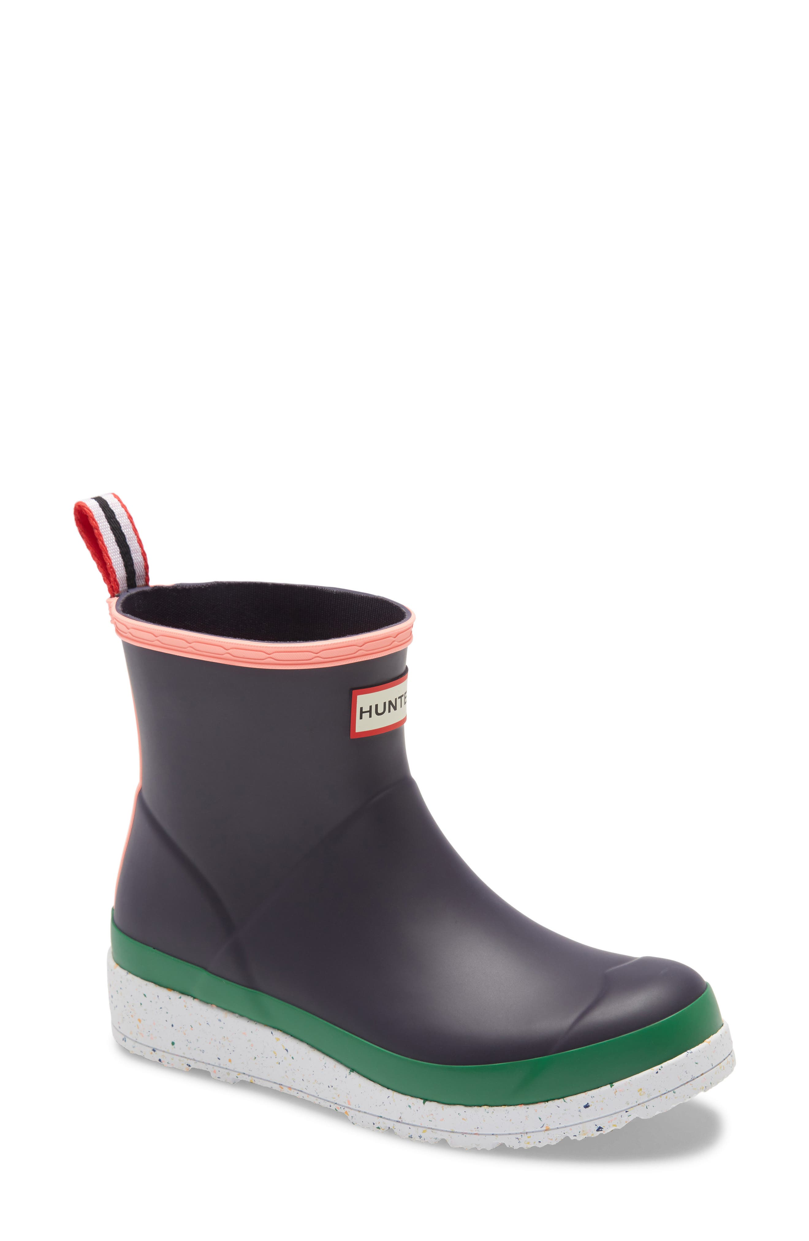 A speckled platform makes more than a splash on a rubber rain boot set on a grippy lugged sole-for traction on the street and all across your rainy-day wardrobe. Style Name: Hunter Original Play Speckled Platform Waterproof Rain Boot (Women). Style Number: 6020802. Available in stores.