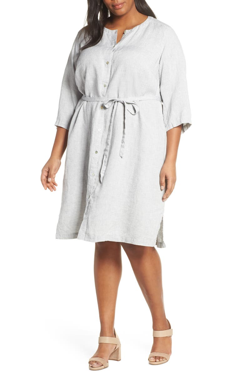 EILEEN FISHER Collarless Organic Linen Shirtdress, Main, color, 117