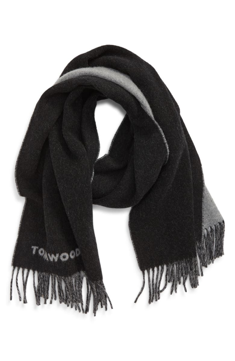 TOM WOOD Logo Wool Blend Scarf, Main, color, PITCH BLACK