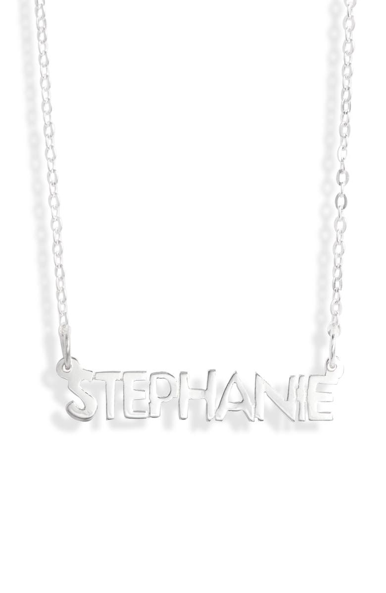 ARGENTO VIVO Small Personalized Name Necklace, Main, color, SILVER