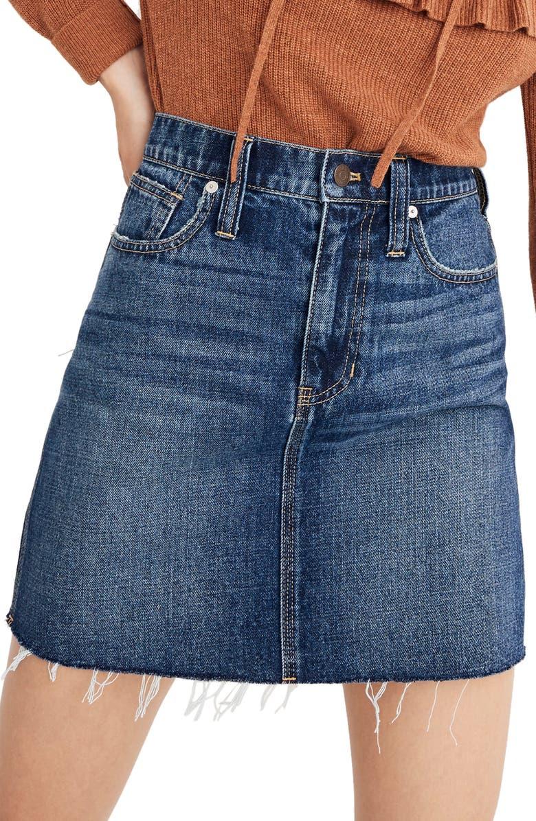 MADEWELL Reworked Rigid Denim Straight Miniskirt, Main, color, 400