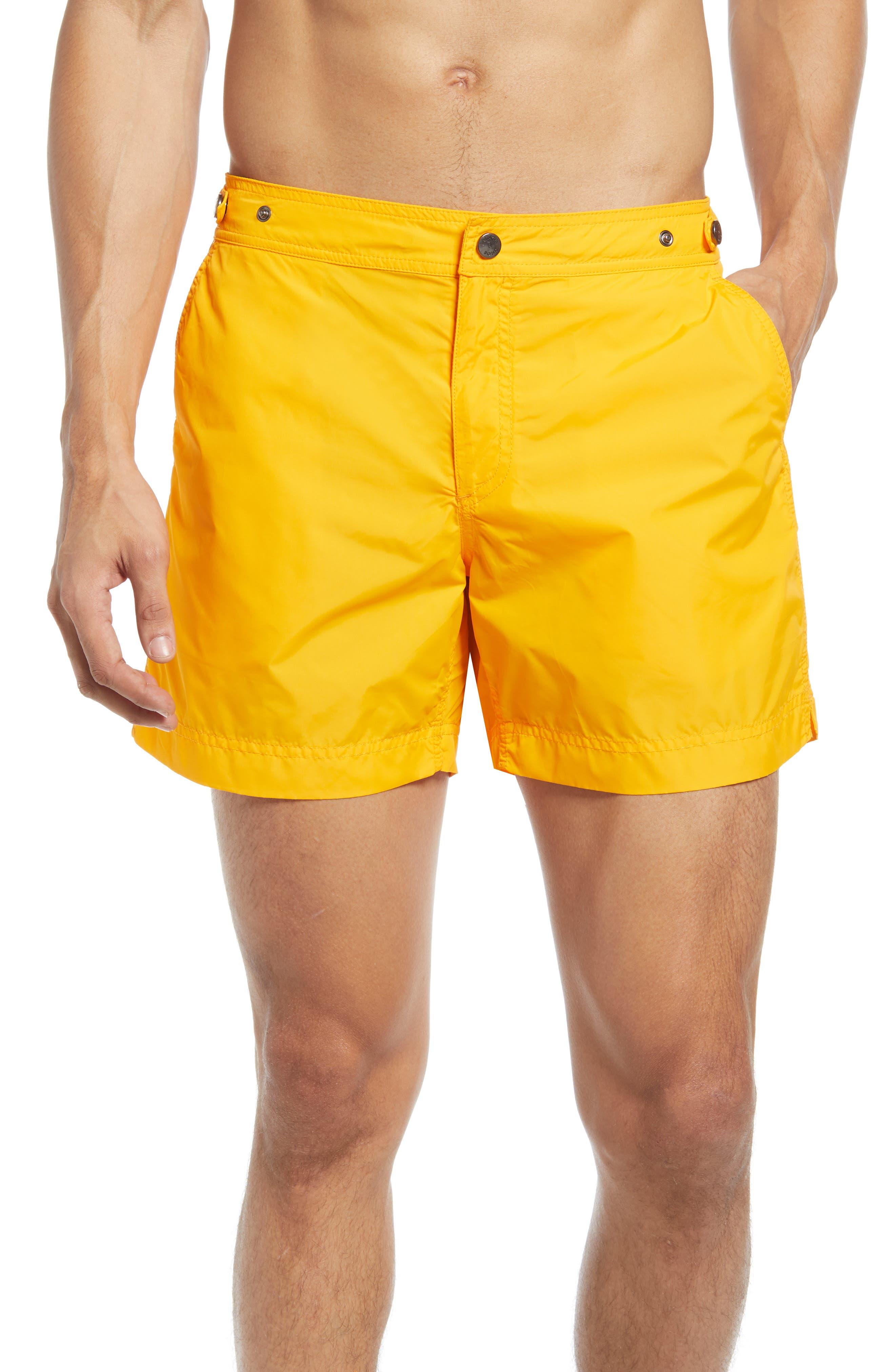 Vintage Men's Swimsuits – 1930s, 1940s, 1950s History Mens Prince  Bond Golden Hour Solid Hybrid Nylon Swim Trunks Size 34 - Yellow $145.00 AT vintagedancer.com