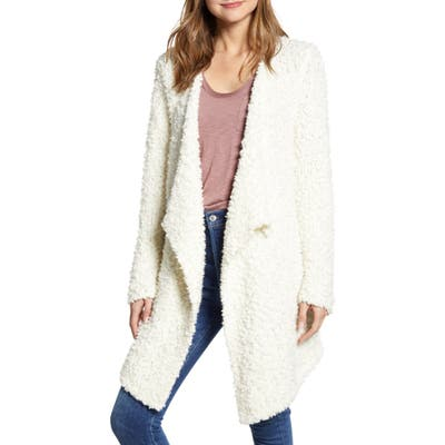 1.state Drape Front Poodle Cardigan, Ivory