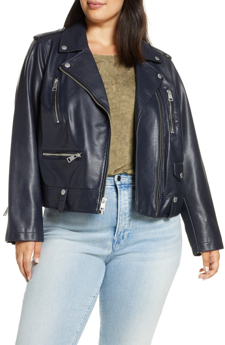 LEVI'S<SUP>®</SUP> Lamb Touch Faux Leather Moto Jacket, Main, color, NAVY