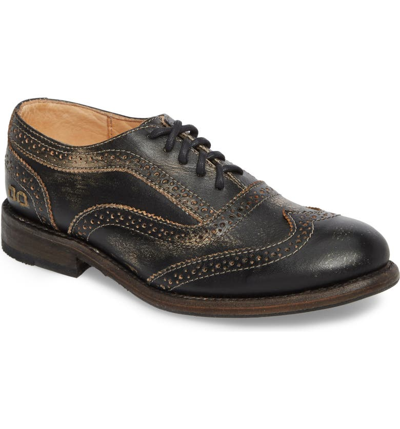 BED STU 'Lita' Oxford, Main, color, BLACK/ BLACK LEATHER