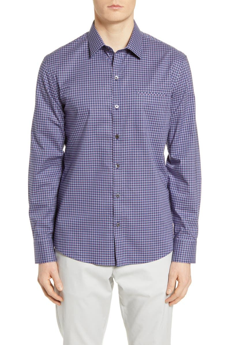 ZACHARY PRELL Ebel Classic Fit Check Button-Up Shirt, Main, color, DARK BLUE