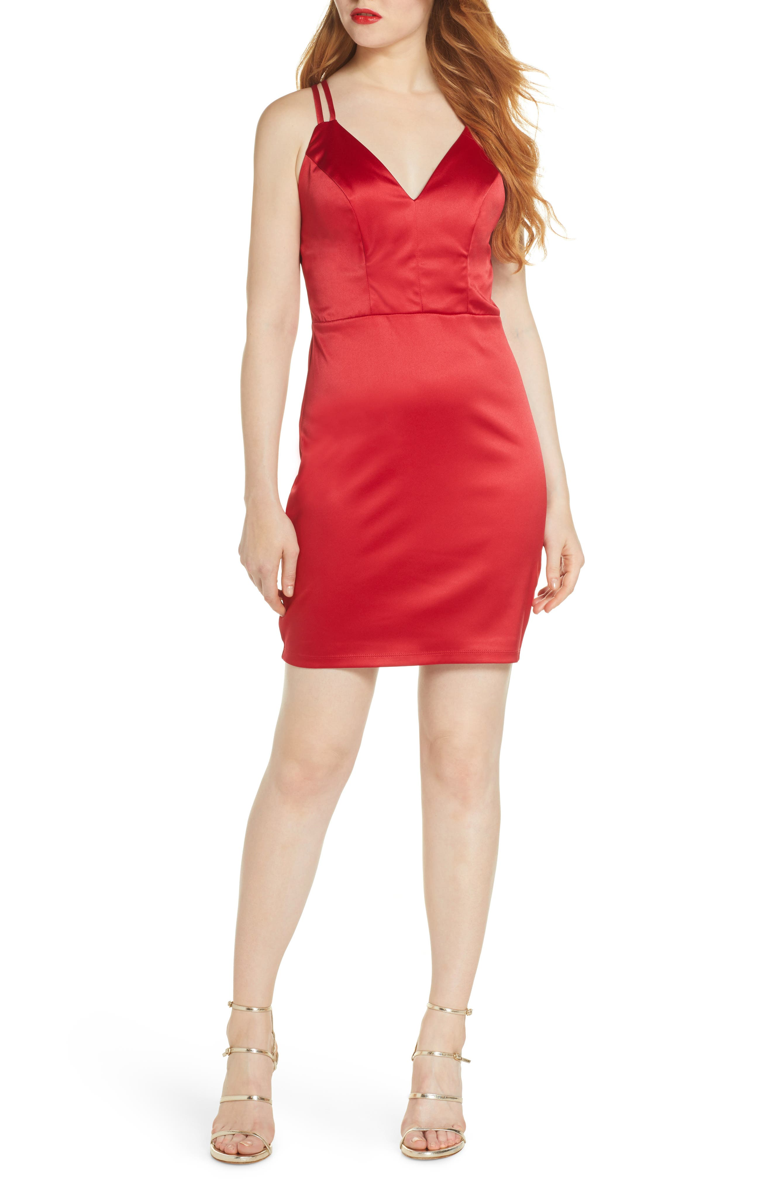 Sequin Hearts Strappy Back Minidress, Red