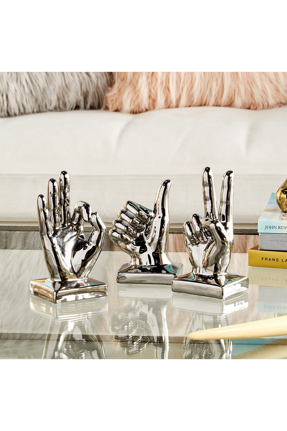 Image of CosmoLiving by Cosmopolitan Large Metallic Polished Silver Hand Sculpture - Set of 3