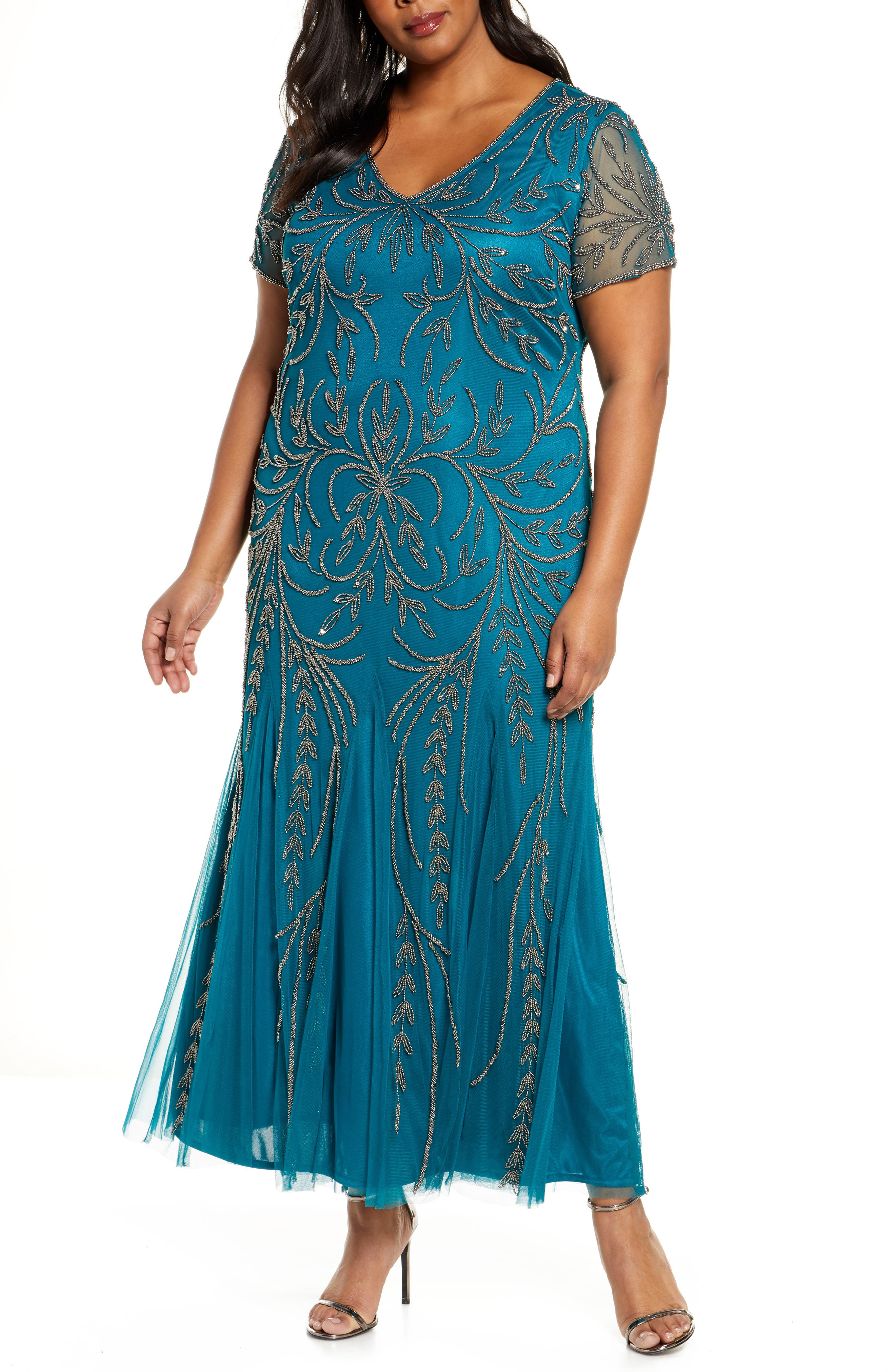 1920s Plus Size Flapper Dresses, Gatsby Dresses, Flapper Costumes Plus Size Womens Pisarro Nights V-Neck Embellished Mesh Gown Size 18W - Bluegreen $248.00 AT vintagedancer.com
