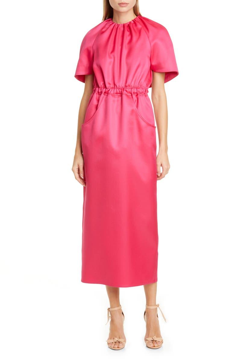 BRANDON MAXWELL Cape Sleeve Wool & Silk Dress, Main, color, PINK