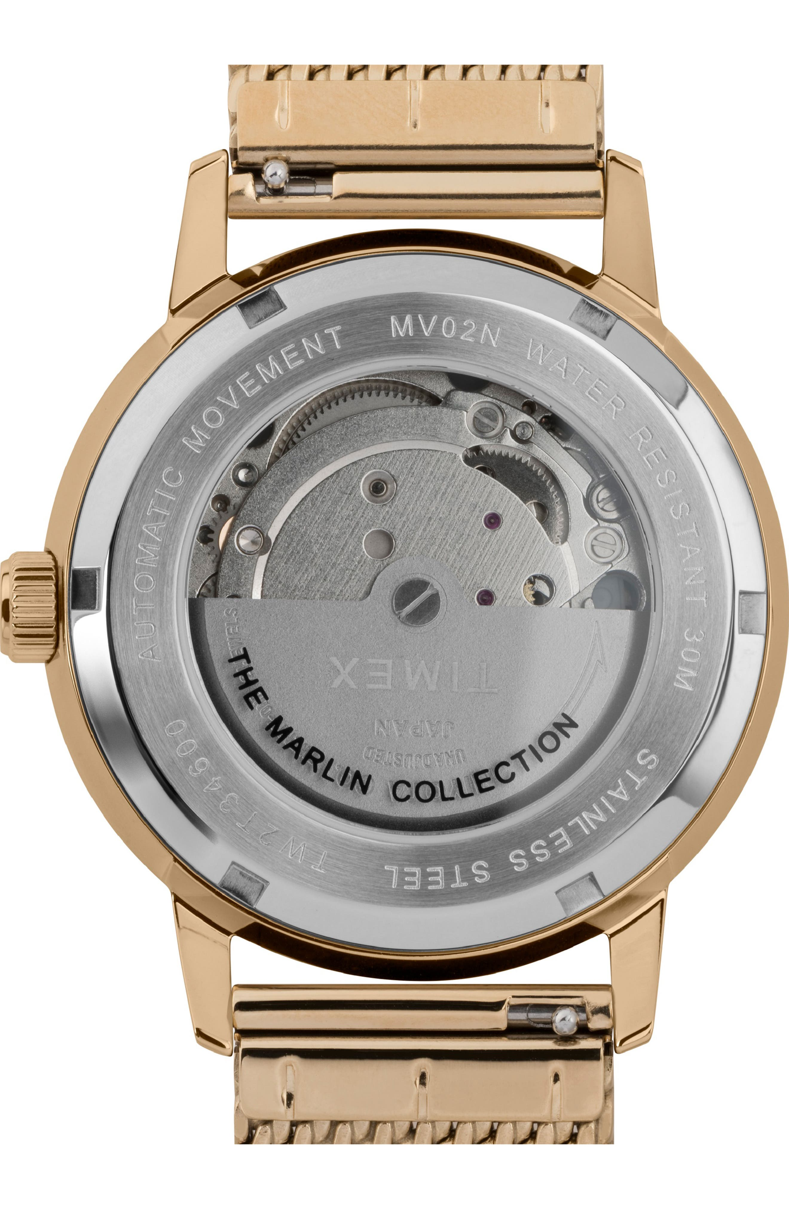 ,                             Marlin Mesh Strap Automatic Watch, 40mm,                             Alternate thumbnail 2, color,                             GOLD/ SILVER/ GOLD
