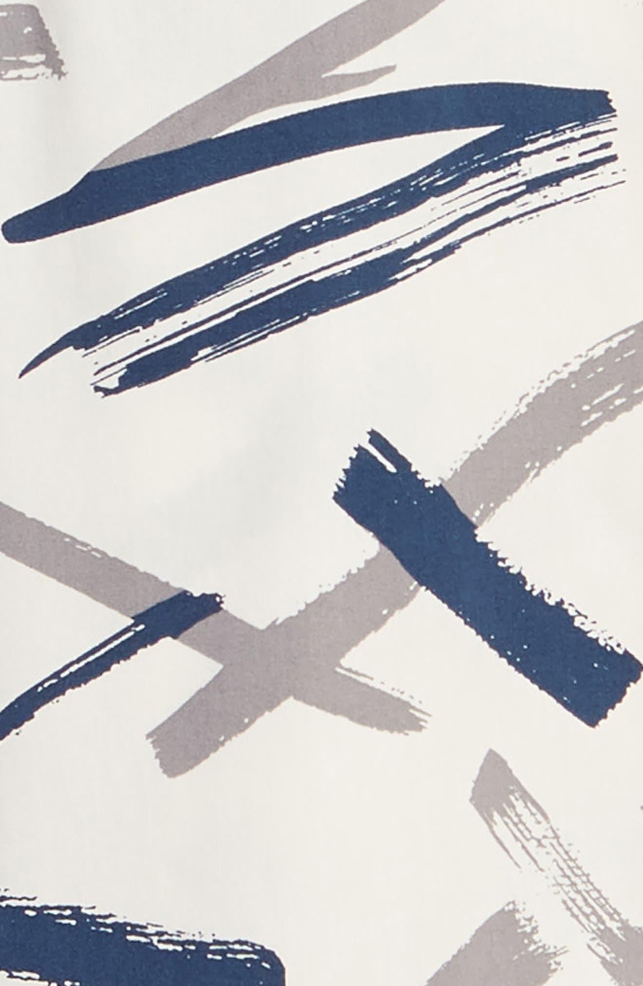 ,                             Print Woven Shirt,                             Alternate thumbnail 7, color,                             WHITE GARDENIA BRUSHED INK