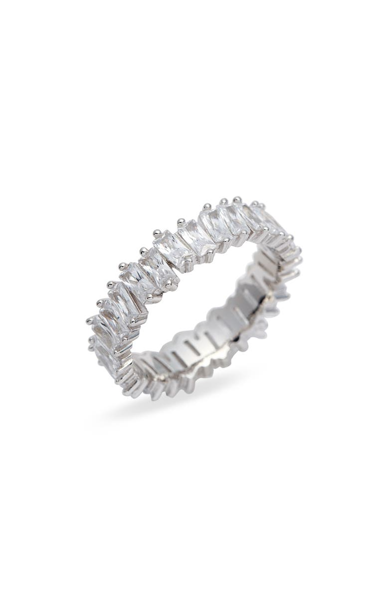 ADINA'S JEWELS Adina's Jewels Baguette Ring, Main, color, SILVER