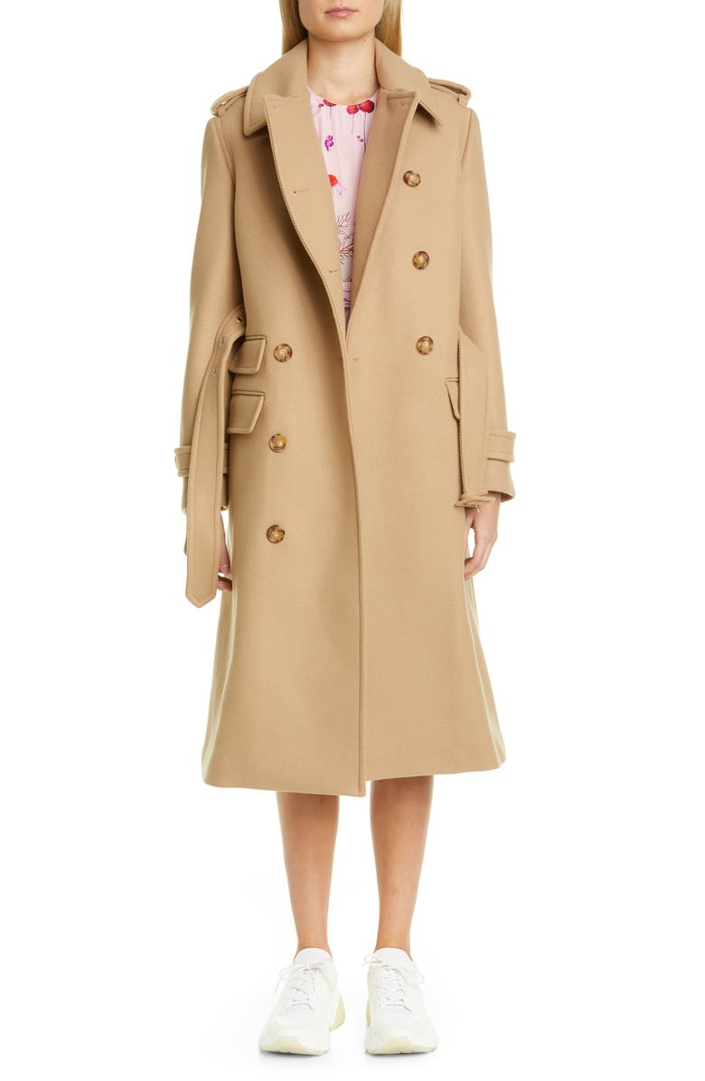 STELLA MCCARTNEY Double Face Wool Trench Coat, Main, color, CAMEL
