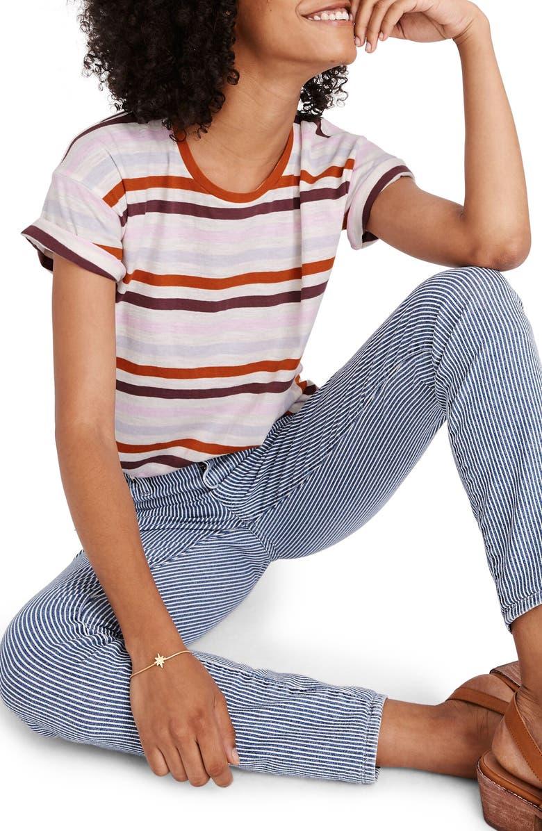 MADEWELL Lennie Stripe Whisper Cotton Crewneck Tee, Main, color, MAPLE GLOW AKITA STRIPE