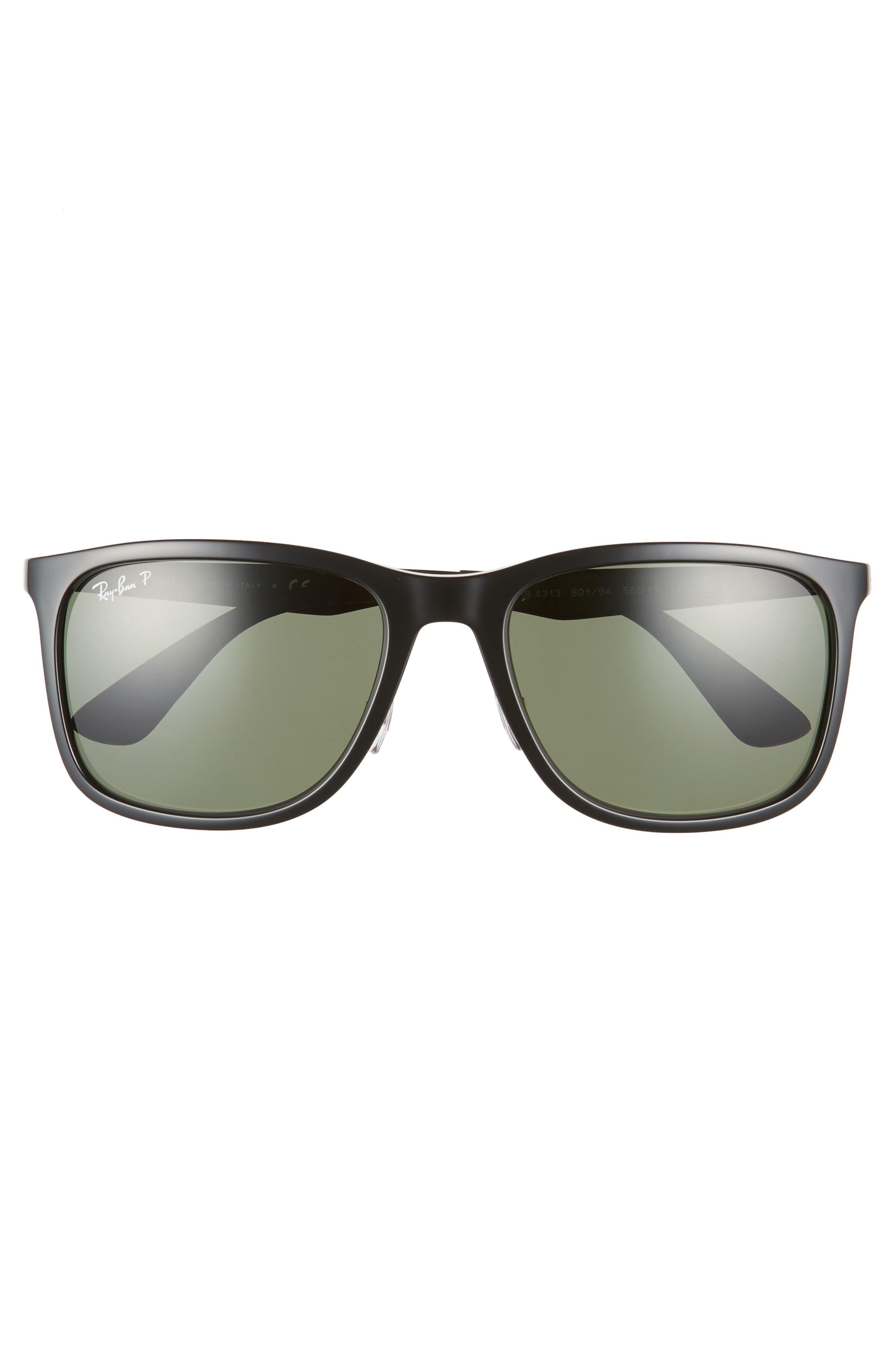 ,                             58mm Polarized Sunglasses,                             Alternate thumbnail 2, color,                             BLACK