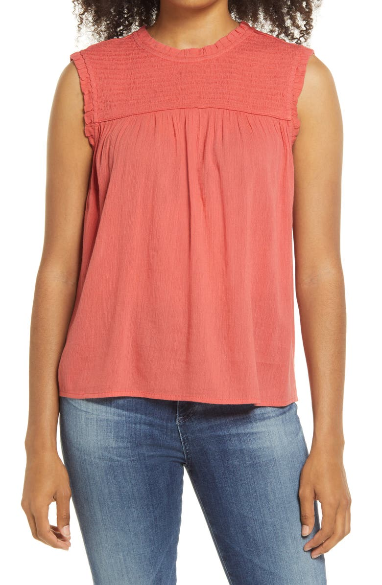 CASLON<SUP>®</SUP> Printed Sleeveless Top, Main, color, CORAL FADED