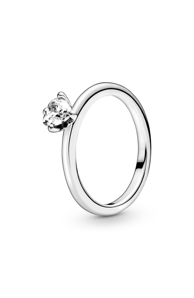 PANDORA Heart Solitaire Ring, Main, color, SILVER/ CLEAR CZ