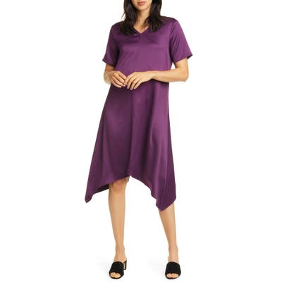 Eileen Fisher Handkerchief Hem Shift Dress, Purple