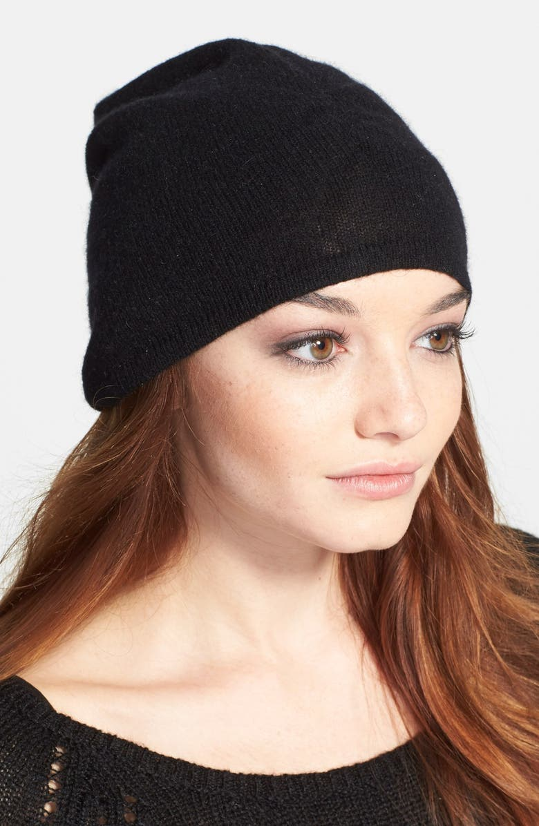 HALOGEN<SUP>®</SUP> Slouchy Cashmere Beanie, Main, color, 001
