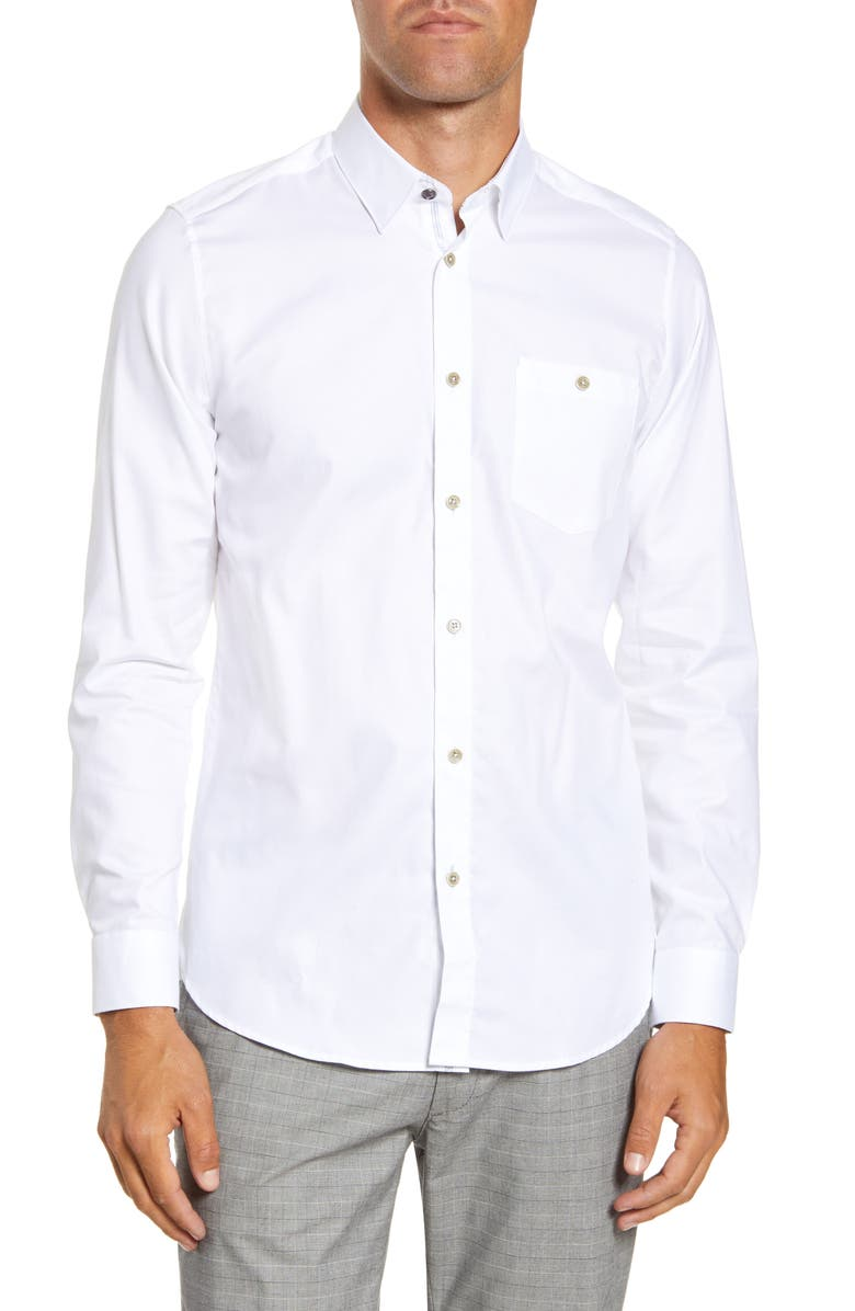 TED BAKER LONDON Branded Tape Slim Fit Shirt, Main, color, WHITE