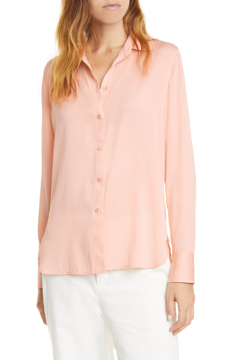 VINCE Slim Fitted Stretch Silk Blouse, Main, color, 800