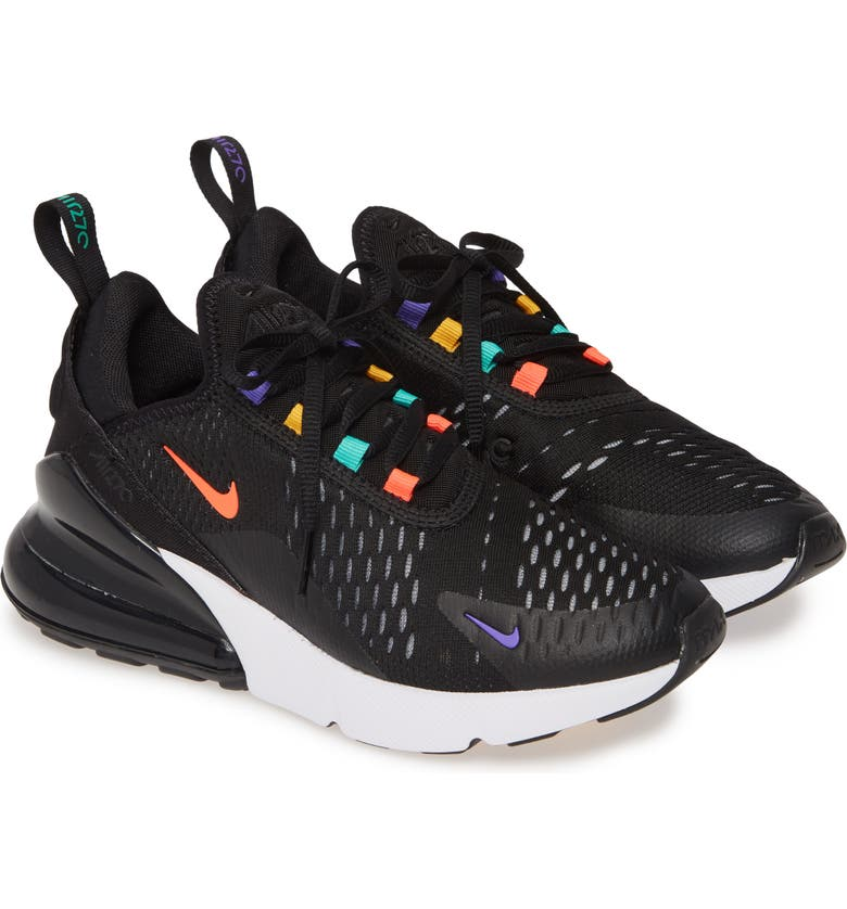 NIKE Air Max 270 Premium Sneaker, Main, color, BLACK/ FLASH CRIMSON/ GOLD