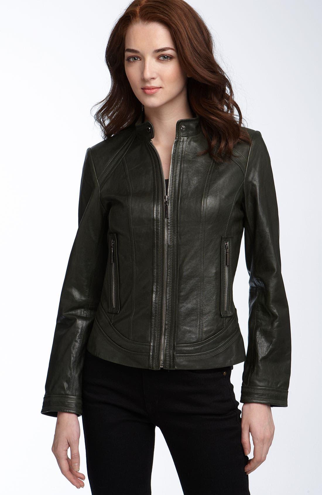 ,                             Seamed Lambskin Leather Scuba Jacket,                             Main thumbnail 3, color,                             364