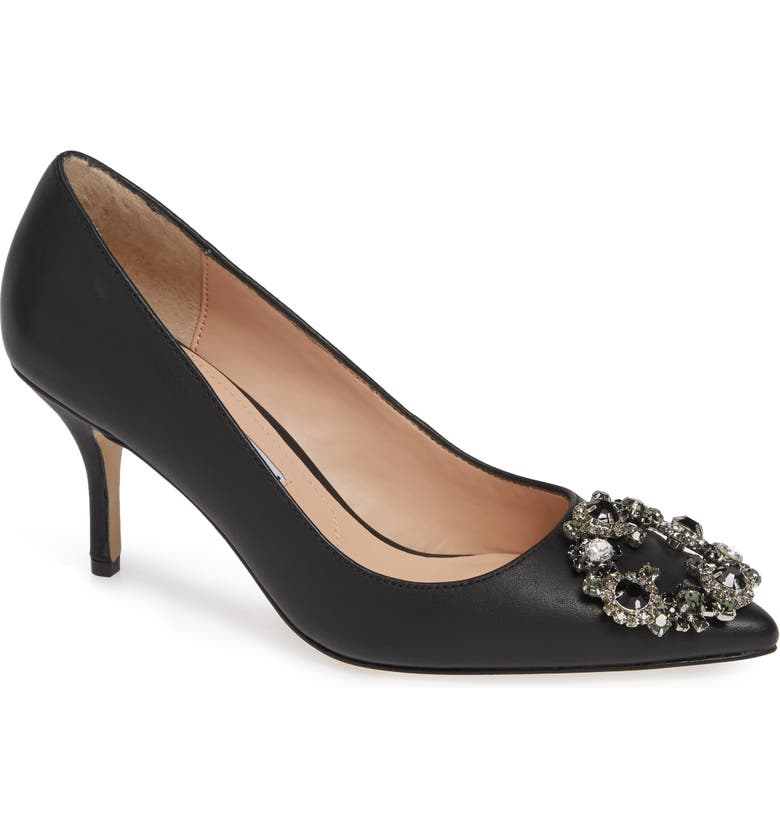 CHARLES DAVID Anina Crystal Embellished Pump, Main, color, BLACK LEATHER