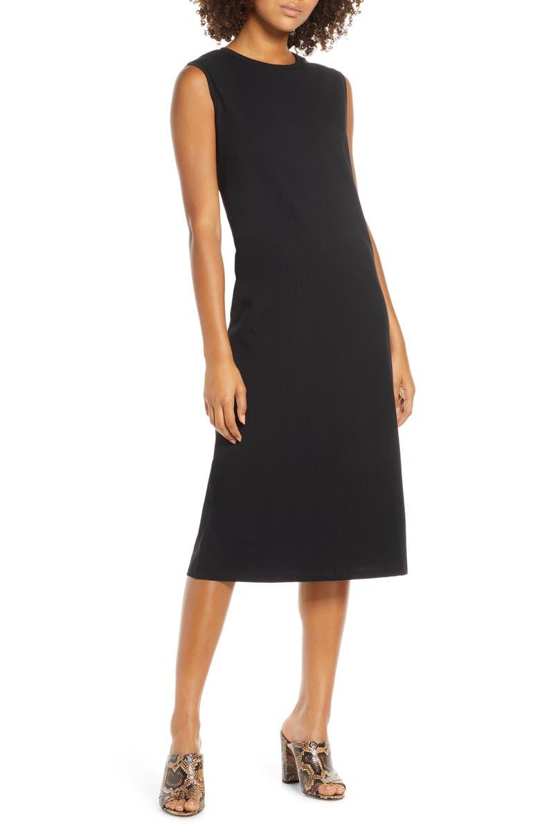 CAARA Kurva Shift Dress, Main, color, BLACK