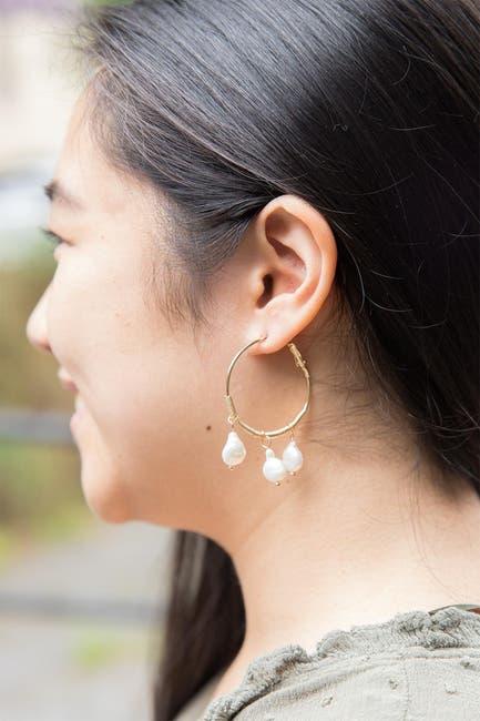 Image of Saachi Bedrock Freshwater Pearl Hoop Earrings