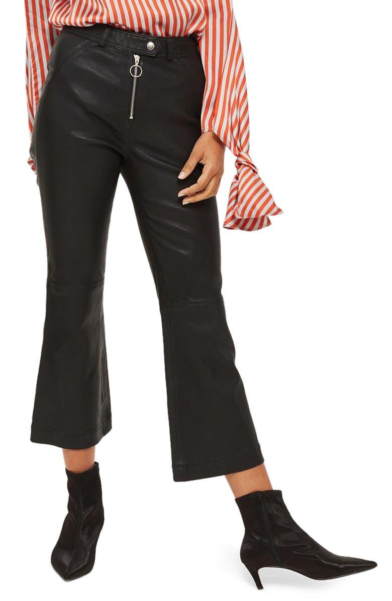 TOPSHOP Premium Kick Flare Crop Leather Pants, Main, color, 001