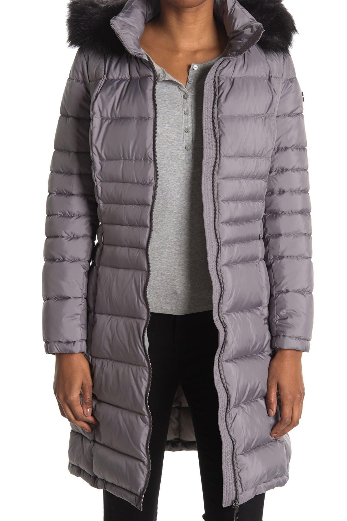 Image of Calvin Klein Faux Fur Trimmed Hood Walker Puffer Jacket