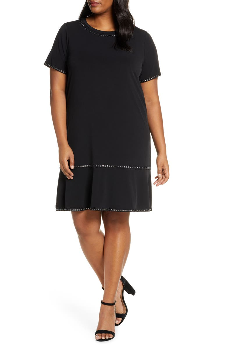 MICHAEL MICHAEL KORS Stud Detail Ruffle Dress, Main, color, BLACK