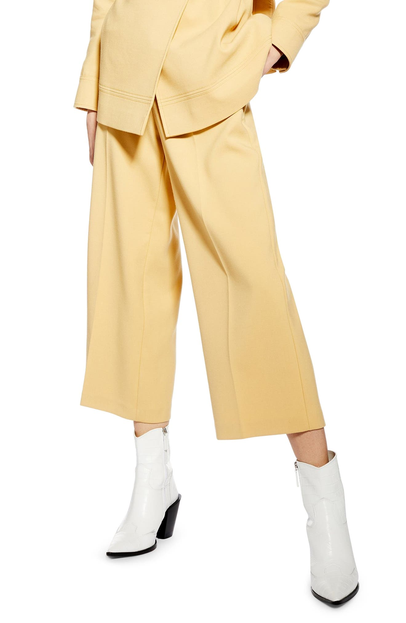 ,                             Bonded Wide Leg Cropped Trousers,                             Main thumbnail 1, color,                             LIGHT YELLOW