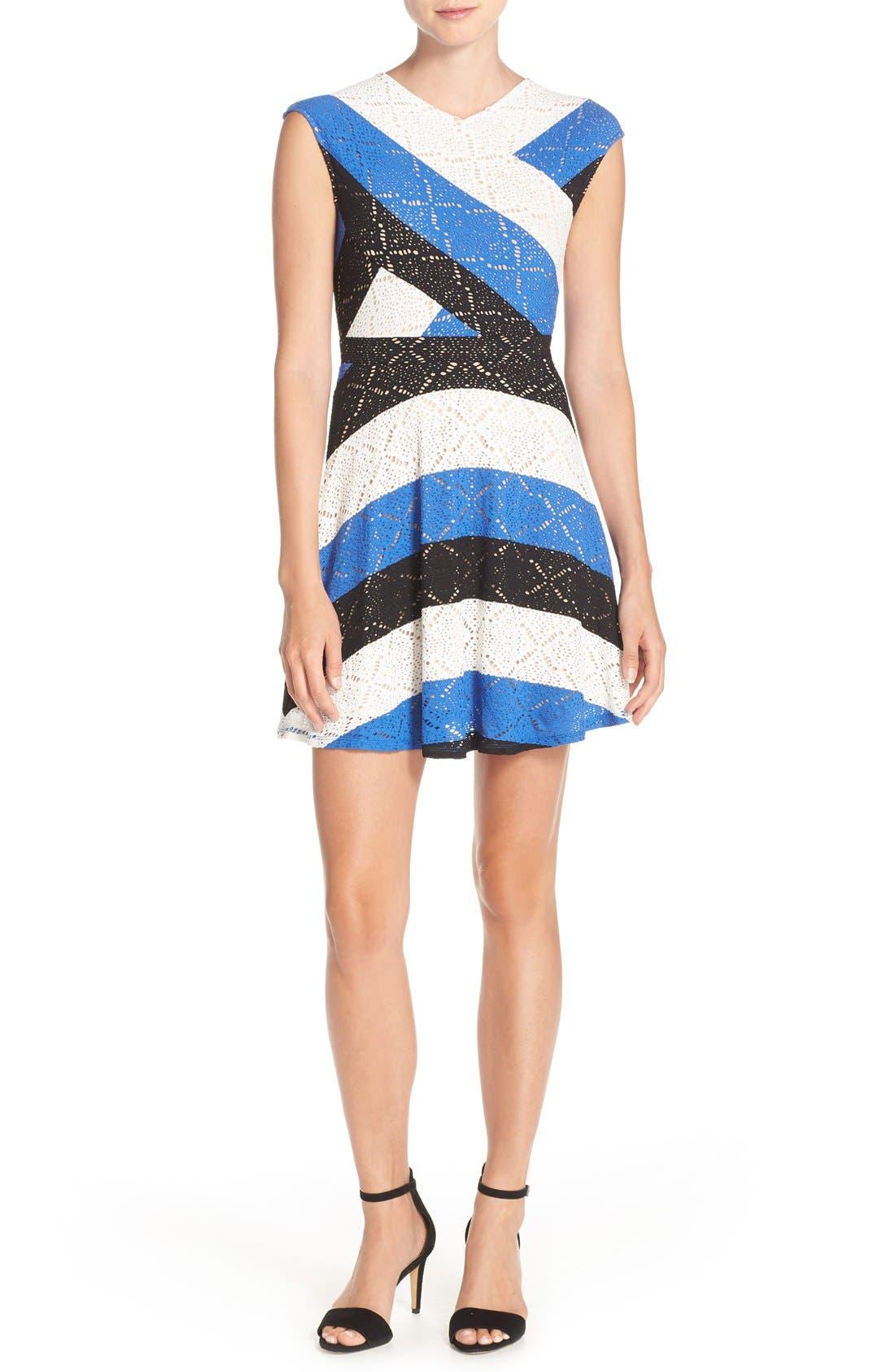 ,                             'Jasmyne' Stripe Lace Dress,                             Alternate thumbnail 4, color,                             475