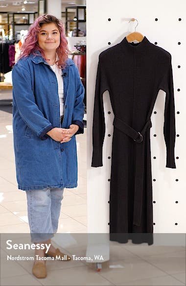 Rib Long Sleeve Sweater Dress, sales video thumbnail