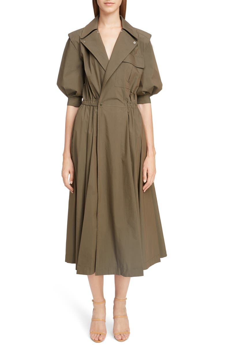 TOGA Trench Taffeta Shirtdress, Main, color, BROWN