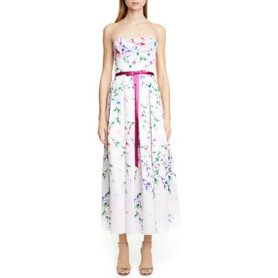 Marchesa Notte Strapless Floral Tea Length Dress, Pink