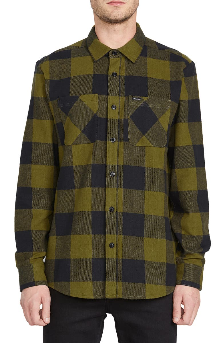 VOLCOM Shade Stones Slim Fit Check Button-Up Shirt, Main, color, SONIC GREEN