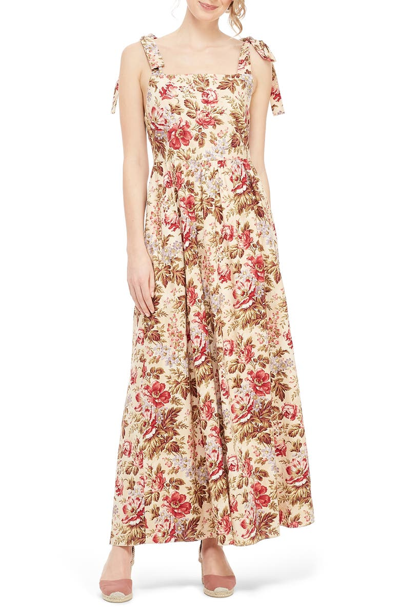 GAL MEETS GLAM COLLECTION Floral Print Tie Shoulder Cotton Maxi Dress, Main, color, BEIGE