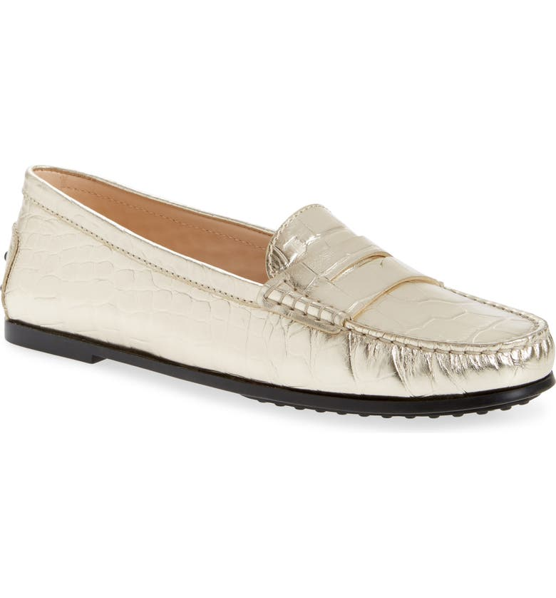 TOD'S New City Gommini Croc Embossed Driving Moccasin, Main, color, GOLD