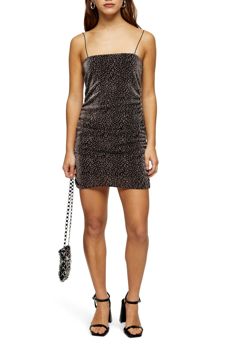 TOPSHOP Glitter Metallic Leopard Ruched Minidress, Main, color, GOLD