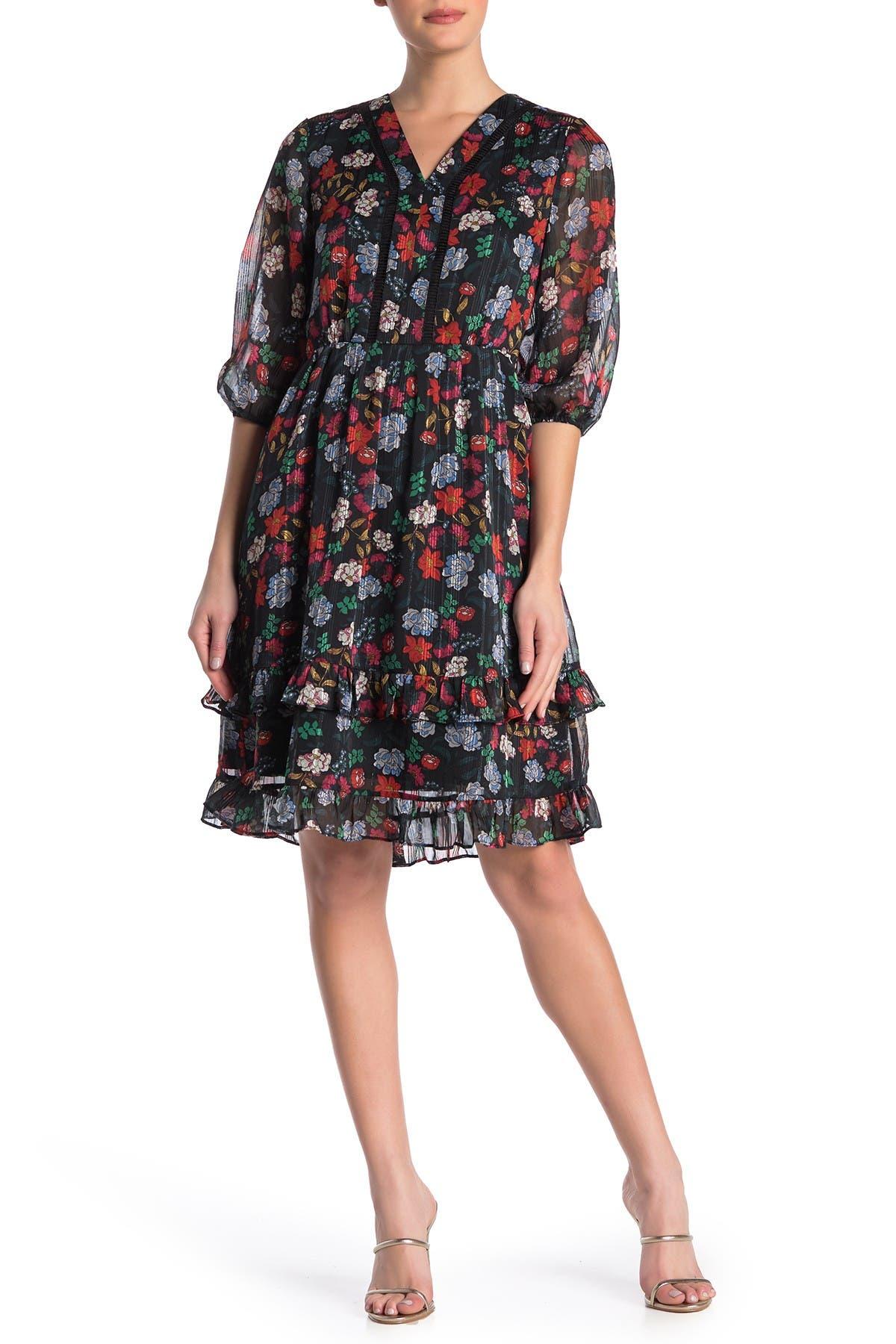 Image of NANETTE nanette lepore V-Neck Elbow Length Sleeve Floral Print Dress