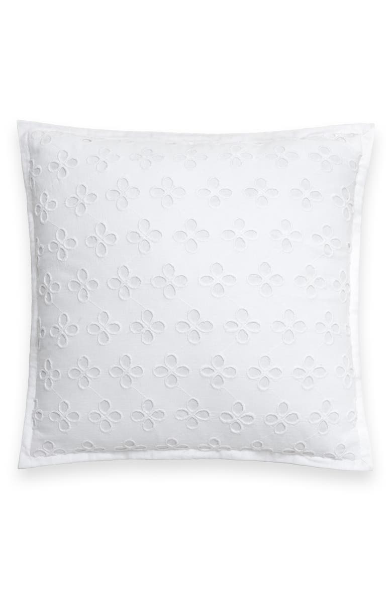 KATE SPADE NEW YORK eyelet lace accent pillow, Main, color, WHITE